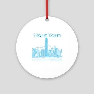 HongKong_10x10_v1_Skyline_Central_B Round Ornament