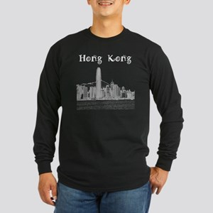 HongKong_12X12_Skyline_Ce Long Sleeve Dark T-Shirt
