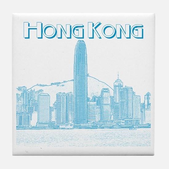 HongKong_10x10_v1_Skyline_Central_Bla Tile Coaster