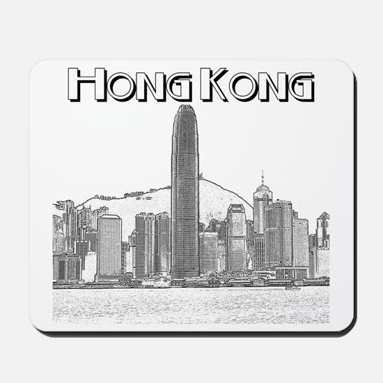 HongKong_10x10_v1_Skyline_Central_Black Mousepad
