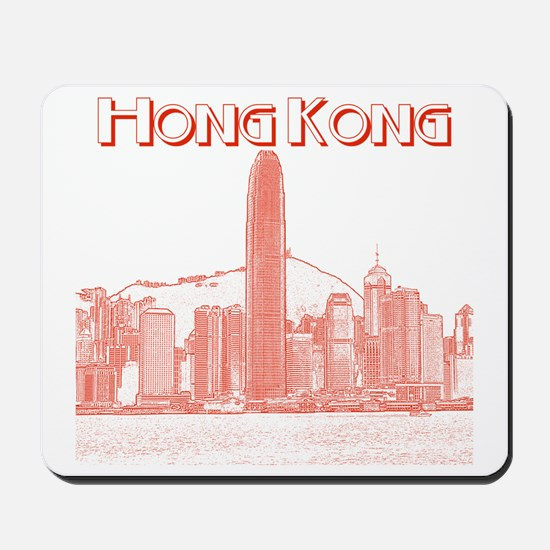 HongKong_10x10_v1_Skyline_Central_Red Mousepad