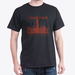 HongKong_10x10_v1_Skyline_Central_Red Dark T-Shirt