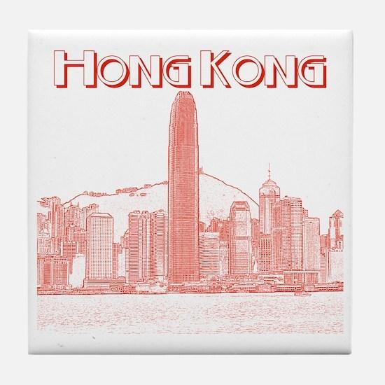 HongKong_10x10_v1_Skyline_Central_Red Tile Coaster