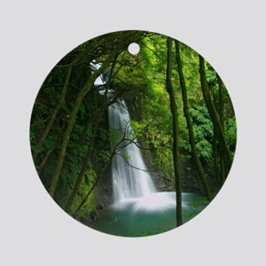 Waterfall in Azores Round Ornament