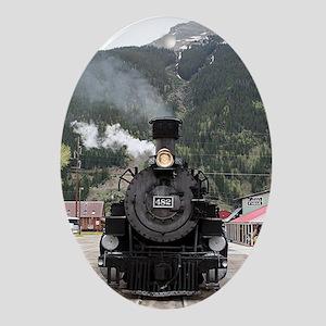 Steam train engine Colorado, USA 4 Oval Ornament