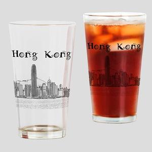 HongKong_12X12_Skyline_Central_Blac Drinking Glass