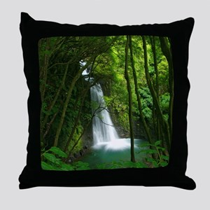 Waterfall in Azores Throw Pillow