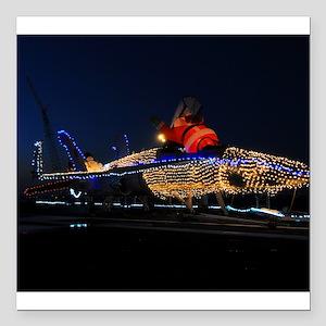 "Santas New Christmas Sleigh Square Car Magnet 3"" x"