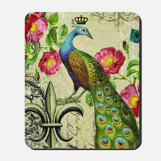 Vintage French peacock and floral collag Mousepad