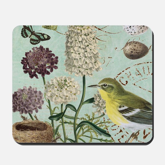 Vintage French bird and nest Mousepad