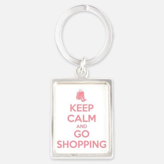 Keep Calm and Go Shopping Portrait Keychain