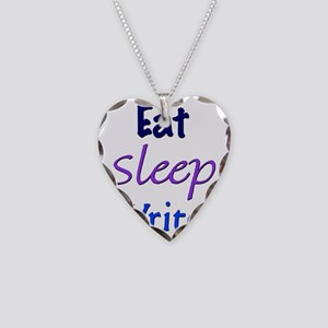 Eat, Sleep, Write Necklace Heart Charm