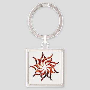 Mandala Flame Square Keychain