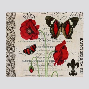 Vintage French red poppies collage Throw Blanket