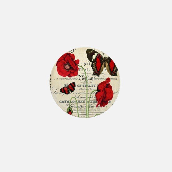 Vintage French red poppies collage Mini Button