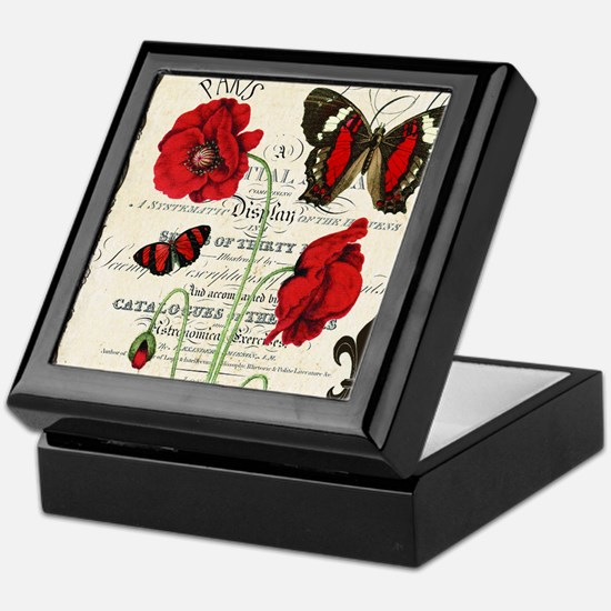 Vintage French red poppies collage Keepsake Box