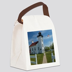 Sand Point Lighthouse Canvas Lunch Bag