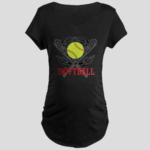 Softball Tribal Maternity Dark T-Shirt