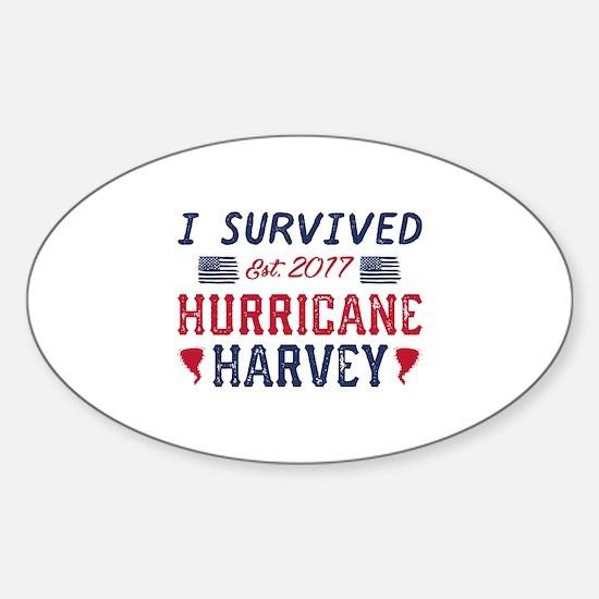 I Survived Hurricane Harvey Sticker (Oval)