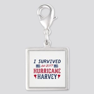 I Survived Hurricane Harvey Silver Square Charm