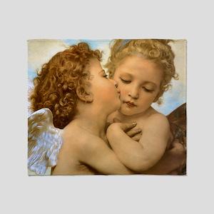 Vintage Victorian Angels, First Kiss Throw Blanket