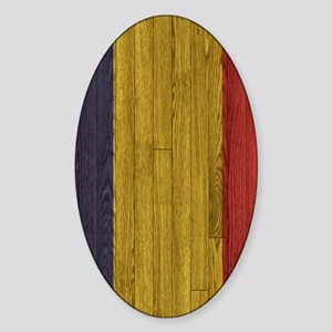Hardwood floor Romanian Flag Twin S Sticker (Oval)