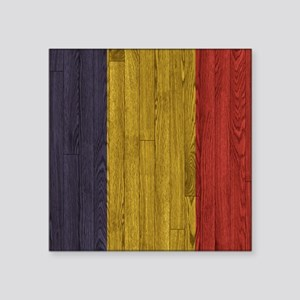 "Hardwood floor Romanian Fla Square Sticker 3"" x 3"""
