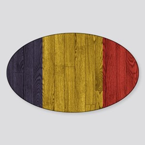 Hardwood floor Romanian Flag oval p Sticker (Oval)