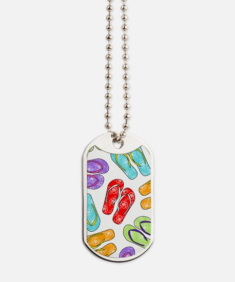 Colorful Flip Flops Beach Print Dog Tags