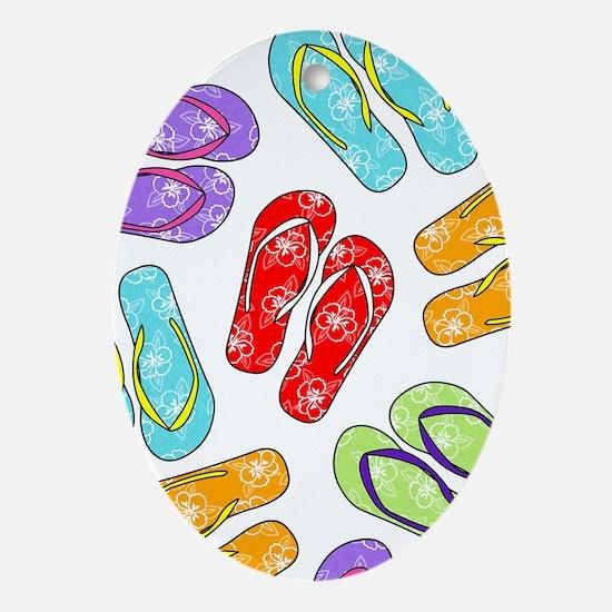 Colorful Flip Flops Beach Print Oval Ornament