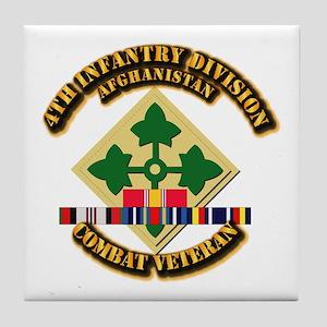 Army - 4th ID w Afghan Svc Tile Coaster