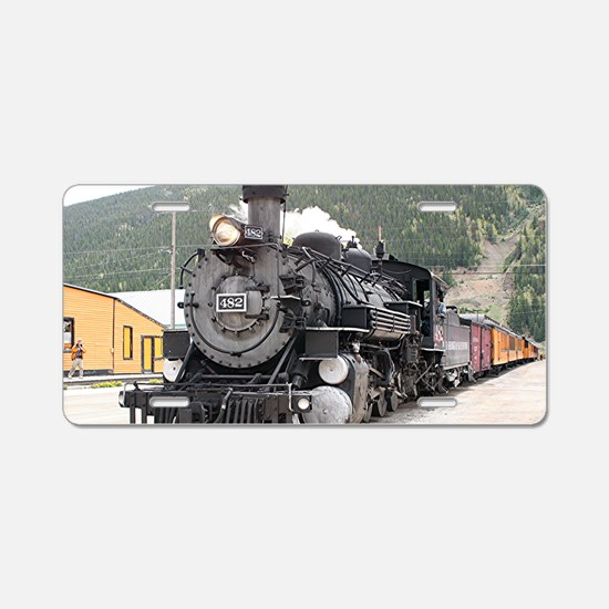 Steam train engine Silverto Aluminum License Plate