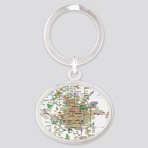 Denver Map Oval Keychain