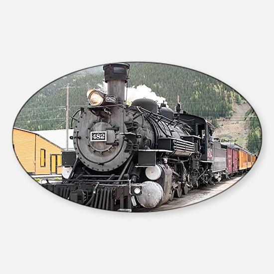 Steam train engine Silverton, Color Sticker (Oval)