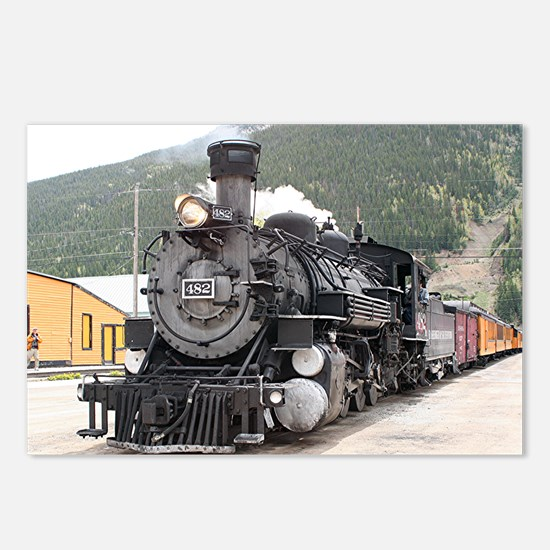 Steam train engine Silver Postcards (Package of 8)