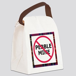 NoPebbleMine Plaid Canvas Lunch Bag