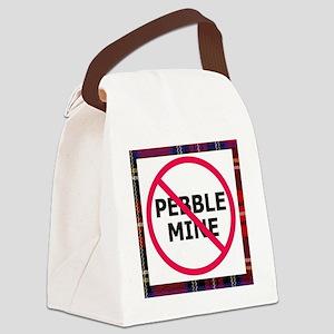 NoPebbleMine Plaid Canvas Lunch Bag