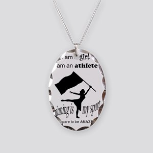 Spinning Athlete Necklace Oval Charm
