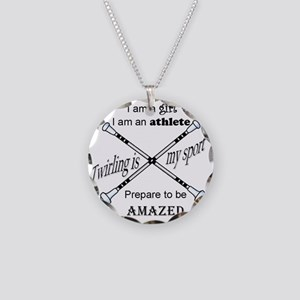 Twirling Athlete Necklace Circle Charm