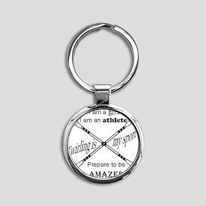 Twirling Athlete Round Keychain