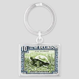 1936 Ecuador Galapagos Tortoise Landscape Keychain
