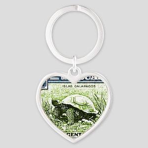1936 Ecuador Galapagos Tortoise Pos Heart Keychain