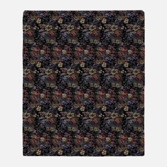 Blue Floral Tapestry Throw Blanket