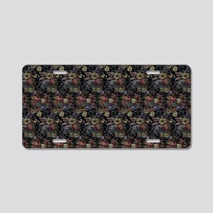 Blue Floral Tapestry Aluminum License Plate