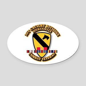 Army - 1st Cav Div w Afghan Svc Oval Car Magnet