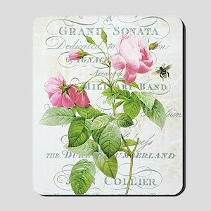 Vintage French Botanical pink rose Mousepad