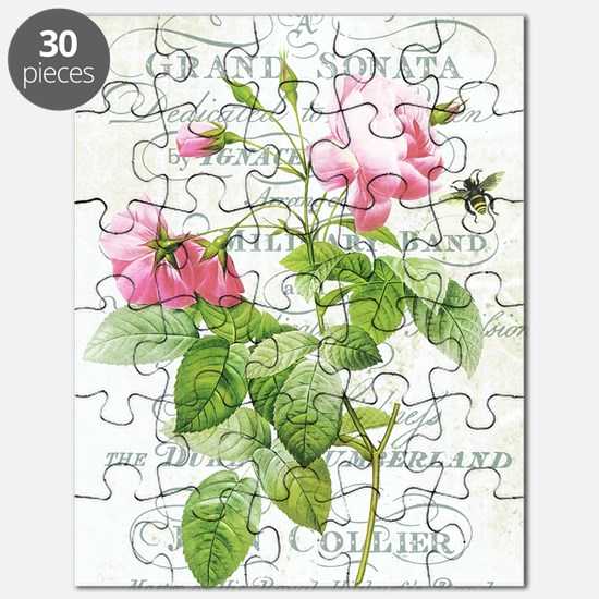 Vintage French Botanical pink rose Puzzle