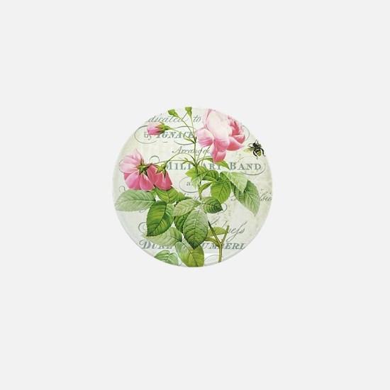 Vintage French Botanical pink rose Mini Button