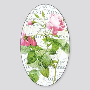 Vintage French Botanical pink rose Sticker (Oval)