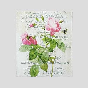 Vintage French Botanical pink rose Throw Blanket